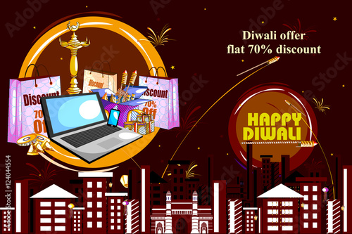 """""""Happy Diwali Shopping Sale Offer With Decorated Diya For"""