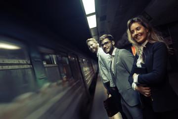 Businesspeople using subway