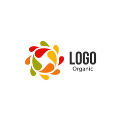 Isolated abstract colorful drops circle logo. Liquid circulation logotype. Kids art school icon, Round shape spining paint sign. Natural process of renewal symbol. Vector drops illustration.