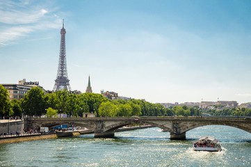 Paris cityscape - Eiffel Tower, bridge and Seine river