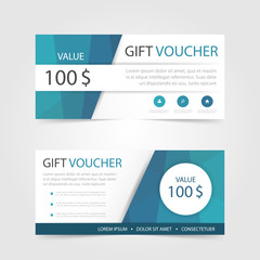 Blue polygon Gift voucher template with colorful pattern,cute gi