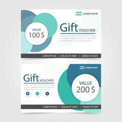 Green Circle Gift voucher template with colorful pattern,cute gi