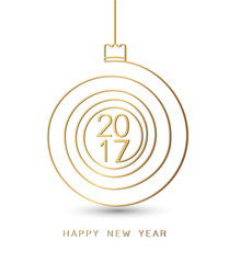 Merry christmas happy new year gold 2017 spiral shape. Ideal for xmas card or elegant holiday party invitation. EPS10 vector.