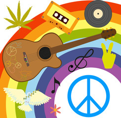 hippie symbols and accessories on a rainbow