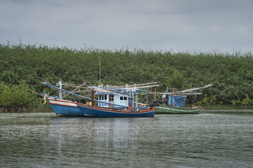traditional fishing boat on the sea with mangrove forest in background.cloudy sky.filtered image.selective focus
