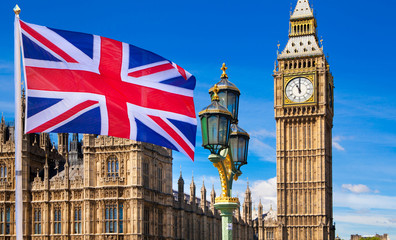 House of Parliament and British flag Wall mural
