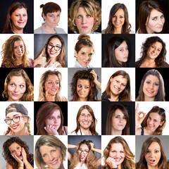 collage di visi di donna con diverse espressioni