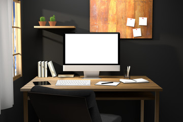 3D Rendering : illustration of modern creative workplace.PC monitor on wooden table.translucent curtain and glass window with sunlight shining from the outside.clipping path included