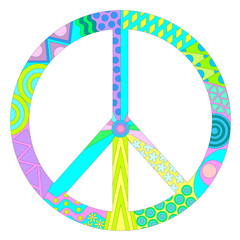 multicolored pacifik peace symbol isolated on white background