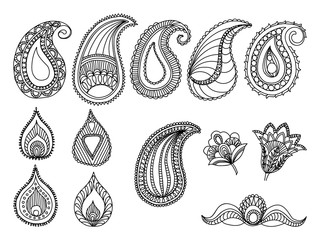 Abstract Hand-Drawn Paisley Pattern design elements. Fabric textile national decorations