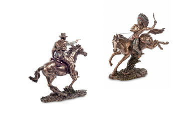 Duel of American Indian with a cowboy, figurines