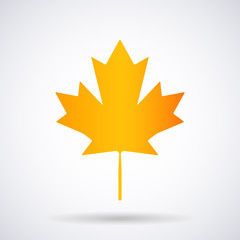 Canadian maple leaf autumn, golden yellow icon isolated on a white background, stylish vector illustration for web design