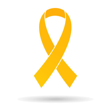 Golden-yellow ribbon, breast cancer awareness symbol, isolated on white background, stylish vector illustration, eps10.