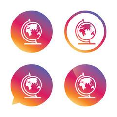 Globe sign icon. World map geography symbol.
