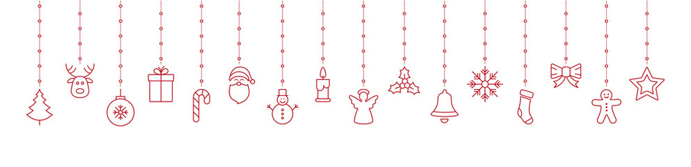 merry christmas hanging red outline ornaments