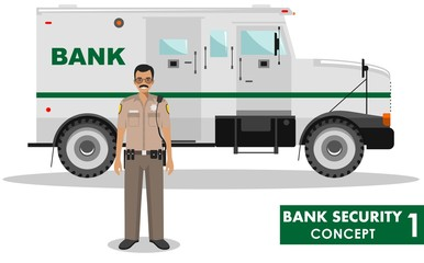 Bank security concept. Detailed illustration of bank armored car and security guard on white background in flat style. Vector illustration.