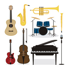 Jazz Music Instruments Objects Set, Design Element Symbol and Icons Vector