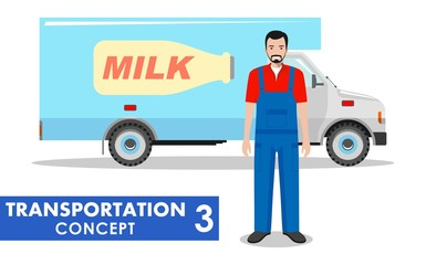 Transportation concept. Detailed illustration of milk truck and driver on white background in flat style. Vector illustration.