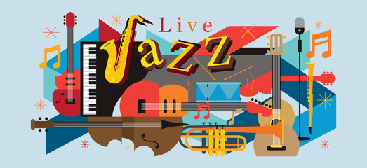 Jazz Music Instruments Background, Festival, Event, Live, Concert