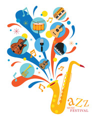 Jazz Music Instruments, Saxophone with Icons, Festival, Event, Live, Concert