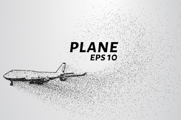 The plane of the particles. Passenger plane consists of small circles. Vector illustration