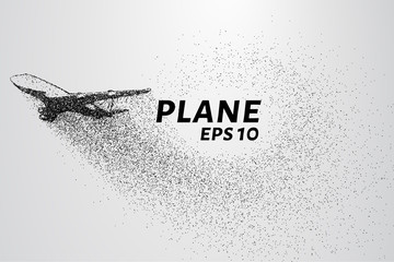 The plane of the particles. The plane disintegrated into small molecules. The plane takes off. Vector illustration