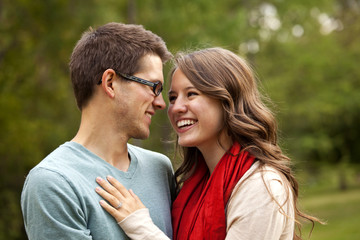 Newlywed Couple Spending Time Together In A Park; Edmonton, Alberta, Canada