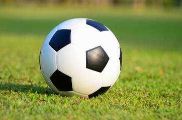 football or soccer ball on green grass field