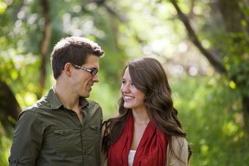 Portrait Of A Newlywed Couple In A Park; Edmonton, Alberta, Canada