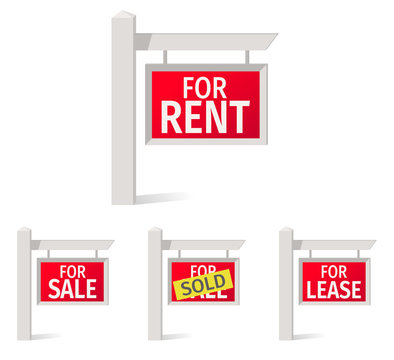 Real Estate Signs, red plate on the pole.