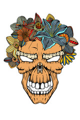 Human skull and flowers