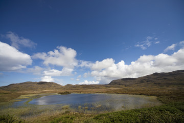 A Lake Surrounded By Hilly Landscape; Ardnamurchan, Argyl, Scotland