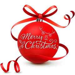 red christmas ball with bow and lettering - merry christmas