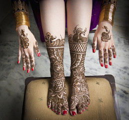Mehndi On The Hands And Feet; Ludhiana, Punjab, India