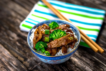 Beef in sauce with broccoli and rice