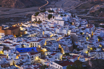 Typical Village With White Buildings; Mojacar, Almeria Province, Spain