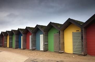 Colourful Beach Huts; Blythe, Northumberland, England