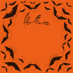 Bat forms a frame. Orange background. Halloween. Bat cartoon. Vector illustration.