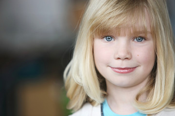Portrait Of A Girl With Blond Hair And Blue Eyes; Troutdale, Oregon, United States of America