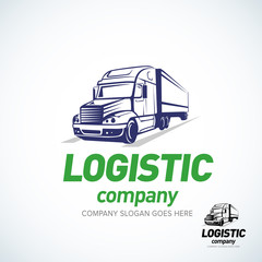 Truck logo template. Logistic truck logo. Isolated vector illustration.