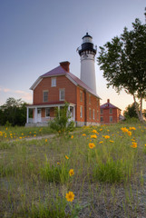 Lighthouse With Yellow Flower In The Foreground; Michigan, United States of America