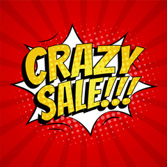 Crazy sale banner template design. Pop art comic style