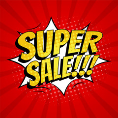 Super sale banner template design. Pop art comic style