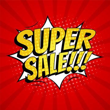 Super sale banner template design. Pop art comic style