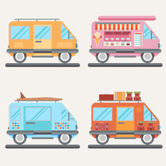 Set of tour buses for tourism, ice cream, traveling or surfing