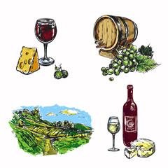 Wine Vineyard Icon Set