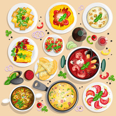 Collection of italian food top view iluustrations