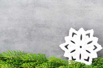 Christmas decor with white snowflake, Vintages background.
