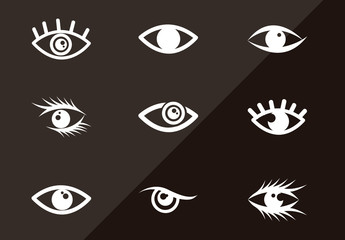 12 Single Color Eye Icons