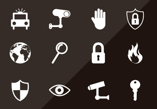 16 Single Color Security Icons